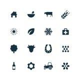 Σύνολο γεωργίας, αγροτικά εικονίδια Στοκ Εικόνα