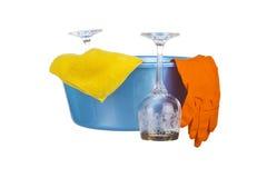 Σύνολο για τα πιάτα πλύσης Στοκ φωτογραφία με δικαίωμα ελεύθερης χρήσης