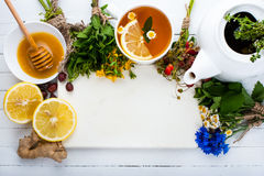 Σύνολο για το βοτανικό τσάι Υπόβαθρο Detox Στοκ Εικόνα