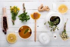 Σύνολο για το βοτανικό τσάι Detox Στοκ Φωτογραφίες