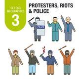Σύνολο για το infographics # 3: διεθνής τρομοκρατία και πόλεμος Διαμαρτυρίες, ταραχές, αστυνομία απεικόνιση αποθεμάτων
