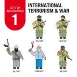 Σύνολο για το infographics # 1: διεθνής τρομοκρατία και πόλεμος πρόσφυγες απεικόνιση αποθεμάτων