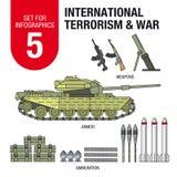Σύνολο για το infographics # 5: διεθνής τρομοκρατία και πόλεμος Πυρομαχικά και όπλα διανυσματική απεικόνιση