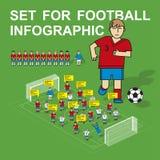Σύνολο για το infographics ποδοσφαίρου διανυσματική απεικόνιση