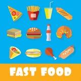 Σύνολο γρήγορου φαγητού στο ύφος της επίπεδης τέχνης Στοκ φωτογραφίες με δικαίωμα ελεύθερης χρήσης