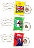 Σύνολο γραμματοσήμων παγκόσμιου ταξιδιού ελεύθερη απεικόνιση δικαιώματος