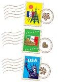 Σύνολο γραμματοσήμων παγκόσμιου ταξιδιού διανυσματική απεικόνιση