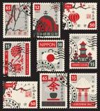 Σύνολο γραμματοσήμων στο ιαπωνικό θέμα Στοκ φωτογραφίες με δικαίωμα ελεύθερης χρήσης