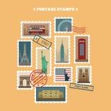 Σύνολο γραμματοσήμων ταξιδιού διανυσματική απεικόνιση