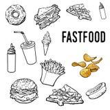 Σύνολο γραπτού συρμένου χέρι γρήγορου φαγητού διανυσματική απεικόνιση