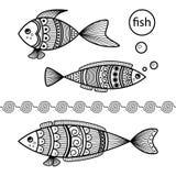 Σύνολο γραπτών ψαριών στο ύφος μελανιού doodle διανυσματική απεικόνιση