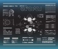Σύνολο γραπτών infographic στοιχείων Head-up στοιχεία επίδειξης για τον Ιστό και app Φουτουριστικό ενδιάμεσο με τον χρήστη Στοκ εικόνες με δικαίωμα ελεύθερης χρήσης