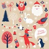 Σύνολο γραφικών στοιχείων Χριστουγέννων Στοκ Εικόνα