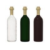 Σύνολο γυαλιού μπουκαλιών 3 που απομονώνεται στο άσπρο υπόβαθρο με το ψαλίδισμα ελεύθερη απεικόνιση δικαιώματος