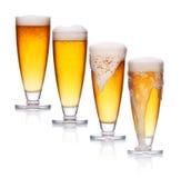 Σύνολο γυαλιού του ελαφριού αφρού μπύρας Στοκ εικόνες με δικαίωμα ελεύθερης χρήσης
