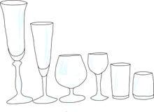 Σύνολο γυαλιών κρασιού με το έντονο φως Στοκ Εικόνες