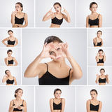 Σύνολο γυναίκας πορτρέτων με τις διαφορετικές συγκινήσεις και τις χειρονομίες στοκ φωτογραφίες