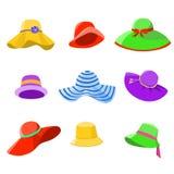 Σύνολο γυναικών θερινών καπέλων Στοκ εικόνα με δικαίωμα ελεύθερης χρήσης