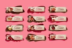 Σύνολο γλυκών διανυσματικών εμβλημάτων Στοκ φωτογραφία με δικαίωμα ελεύθερης χρήσης