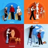Σύνολο γλυπτών ζωγράφων αγγειοπλαστών 2x2 Στοκ εικόνα με δικαίωμα ελεύθερης χρήσης
