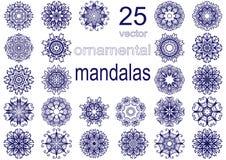 Σύνολο είκοσι πέντε mandalas ελεύθερη απεικόνιση δικαιώματος