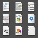 Σύνολο εγγράφων γραφείων εικονιδίων σε ένα επίπεδο ύφος ελεύθερη απεικόνιση δικαιώματος