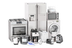 Σύνολο εγχώριων συσκευών κουζινών Φρυγανιέρα, πλυντήριο, ψυγείο Στοκ εικόνα με δικαίωμα ελεύθερης χρήσης