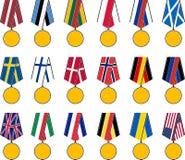 Σύνολο εθνικών μεταλλίων Στοκ Εικόνες