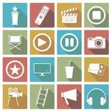 Σύνολο εικονιδίου κινηματογράφων επίσης corel σύρετε το διάνυσμα απεικόνισης Στοκ Εικόνα
