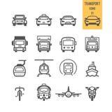 Σύνολο εικονιδίου μεταφορών Στοκ Εικόνες