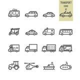 Σύνολο εικονιδίου μεταφορών Στοκ εικόνες με δικαίωμα ελεύθερης χρήσης