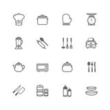 Σύνολο εικονιδίου σκευών για την κουζίνα κτυπήματος περιλήψεων Στοκ Εικόνες