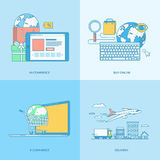 Σύνολο εικονιδίων έννοιας γραμμών για το ηλεκτρονικό εμπόριο απεικόνιση αποθεμάτων