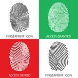 Σύνολο εικονιδίων δακτυλικών αποτυπωμάτων μεταφορτώστε το έτοιμο διάνυσμα εικόνας απεικονίσεων Στοκ Φωτογραφία