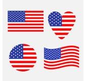 Σύνολο εικονιδίων αμερικανικών σημαιών Κυματισμός, κύκλος, μορφή καρδιών Ευτυχές σύμβολο σημαδιών ημέρας της ανεξαρτησίας απομονω διανυσματική απεικόνιση