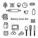 Σύνολο εικονιδίων αρτοποιείων απεικόνιση αποθεμάτων