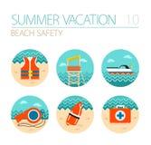 Σύνολο εικονιδίων ασφάλειας παραλιών Lifeguard Καλοκαίρι διακοπές Στοκ Φωτογραφία