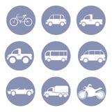 Σύνολο εικονιδίων αυτοκινήτων ή οχημάτων, για την παρουσίαση σχεδίου μέσα Στοκ Εικόνες