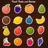 Σύνολο εικονιδίων αυτοκόλλητων ετικεττών φρούτων Στοκ εικόνες με δικαίωμα ελεύθερης χρήσης
