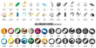 Σύνολο εικονιδίων αλλεργιογόνων τροφίμων Στοκ Εικόνες
