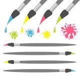 Σύνολο εικονιδίων βουρτσών χρωμάτων Ρόδινη κίτρινη γαλαζοπράσινη πτώση χρώματος Παφλασμός λεκέδων μελανιού πίσω στο σχολείο Επίπε ελεύθερη απεικόνιση δικαιώματος
