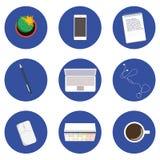 Σύνολο εικονιδίων για την επιχείρηση στο επίπεδο σχέδιο Στοκ φωτογραφία με δικαίωμα ελεύθερης χρήσης