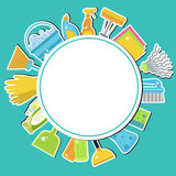 Σύνολο εικονιδίων για τον καθαρισμό των εργαλείων Καθαρισμός σπιτιών ανασκόπησης καθαρίζοντας προμήθειες σφουγγαριών υφασμάτων νέ ελεύθερη απεικόνιση δικαιώματος