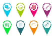 Σύνολο εικονιδίων για τους χάρτες Στοκ Εικόνες
