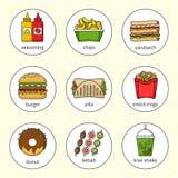 Σύνολο εικονιδίων γρήγορου φαγητού Ποτά, πρόχειρα φαγητά και γλυκά Ζωηρόχρωμη περιγραμμένη συλλογή εικονιδίων Στοκ Φωτογραφίες