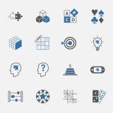 Σύνολο εικονιδίων γρίφων και παιχνιδιών διάνυσμα απεικόνιση Στοκ φωτογραφία με δικαίωμα ελεύθερης χρήσης