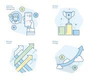 Σύνολο εικονιδίων γραμμών έννοιας για CRM, τη επιχειρησιακή στρατηγική, την αύξηση και την επιτυχία ελεύθερη απεικόνιση δικαιώματος