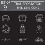 Σύνολο εικονιδίων γραμμών μεταφορών, δημόσιο μέσο μεταφοράς ελεύθερη απεικόνιση δικαιώματος