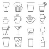Σύνολο εικονιδίων γραμμών με τα ποτά Στοκ Εικόνες