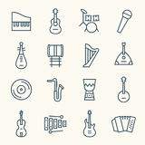 Σύνολο εικονιδίων γραμμών οργάνων μουσικής απεικόνιση αποθεμάτων